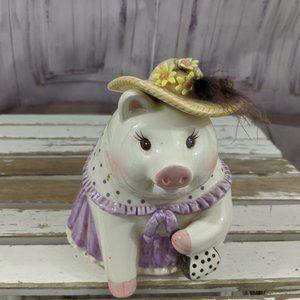 Mud pie girl pig purse piggy bank flowers 2001